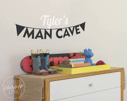 man cave bunting vinyl wall decal sticker personalized custom name decal small medium large for baby nursery or kids room
