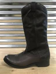 frye melissa equestrian pull on leather boots mid calf smoke gray brown wmns sz
