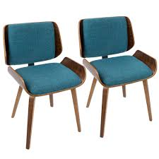 lumisource santi mid century modern walnut and turquoise dining accent chair set of