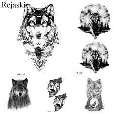 Rejaski черный временные татуировки наклейки мужская мода тело рука волк поддельные