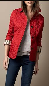 Women's Clothing | Diamond quilt, Quilted jacket and Diamond & Burberry Diamond Quilted Jacket in Military Red Adamdwight.com