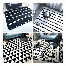 black and white geometric rug flannel mat protective floor cartoon baby crawl carpet uk an black geometric rugs white