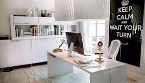 white airy home office. airy home office with blue walls and black floors white