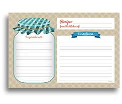 Mason Jar Recipe Cards 50 Double Sided Cards 4x6 Inches Thick Card Stock