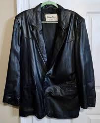 details about vintage pioneer wear black leather suit jacket size 42