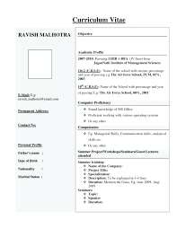Mba Resume Format Amazing Resume Formats For It Freshers To Be Resume Format For Freshers