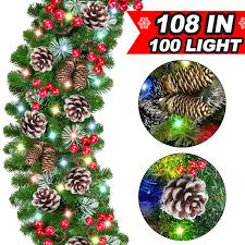 Mantle Garland Lights 100 Led Lights Christmas Garland Decorations 108 By 10 Inch With Snow Battery Operated Pine Cones Berries Garland Greenery Xmas Indoor Outdoor Decor