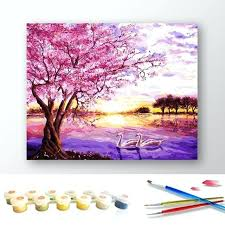cherry tree painting oil painting pink cherry blossom tree by numbers canvas coloring paint acrylic painting