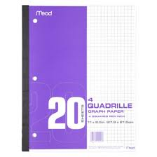 Graph Paper 4sq Inch 20ct 3 Hole Punched Mead Brand