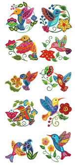 Sewing Machine Embroidery Designs Jacobean Hummingbirds Applique Crewel Embroidery Machine