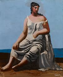 woman in a white gown seated next to the sea picasso s classical period