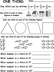 Fractions - EnchantedLearning.comOr go to the answers. one third