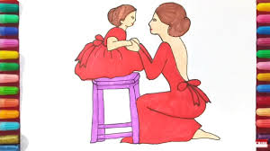How To Draw Mom And Baby Coloring Pages For Kids Youtube