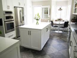 White tile flooring kitchen Popular White Kitchen Grey Floor Tile Home Interior Design Scarvenet Laminate White Kitchen Flooring Ideas And Options For White