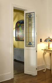 modern stained glass artiste door with blue and yellow accents pantry bifold doors frosted