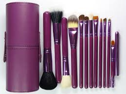 whole sell new purple professional makeup brush set 12 pcs kit w leather cup