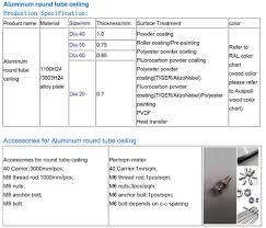 Aluminum Round Tube Size Chart Station Metal Material False Aluminum Round Tube Baffle