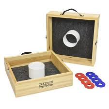 Lawn Game With Wooden Blocks GoSports Premium Birch Wood 100 Piece Washer and Ring Toss Set 68