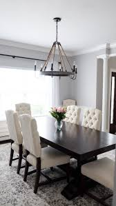 Dark dining room furniture Different Head Chair Gray And White Dining Room Pottery Barn Tufted Chairs And Banks Dark Wood Table Pinterest My Dining Room Mrscasual Blog Pinterest Dining Room