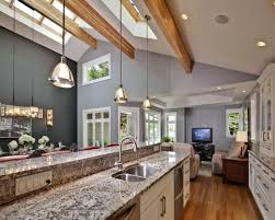 kitchen tray ceiling ideas white cathedral best light fixture sloped island lighting pot lights mini fixtures vaulted ceilings