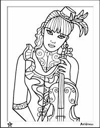 Girl With Violin Coloring Page