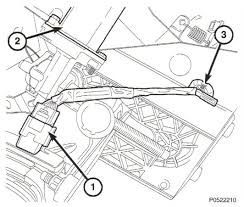 tight chrysler pedal harness automotive service professional note the locations of the app sensor 1 adjustable pedal motor 2 and the wire harness clip 3