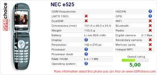 NEC e525 technical specifications ...