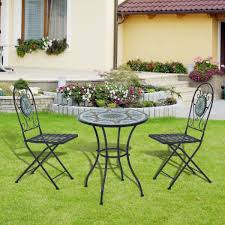 outsunny 3 pcs garden bistro set dining mosaic table 2 seater folding chairs patio furniture mosaic aosom uk