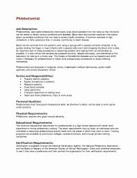 Job Description Of A Phlebotomist On Resume 100 Unique Phlebotomy Resume Sample Simple Resume Format Simple 1