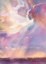 silver lining cloudy sunset watercolor signed giclee fine art print