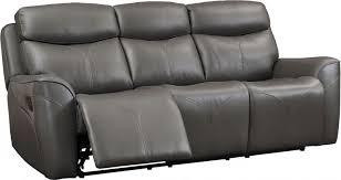 roxbury gray leather power dual reclining sofa main image