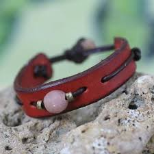 Men's <b>Unique Modern</b> Leather Wristband Bracelet, 'Red Standout ...