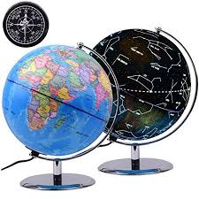 world globe on stand. Qwork 9 Inch Illuminated Constellation World Globe With Compass, 3-in-1 Political On Stand
