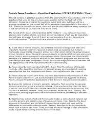 Sample Essay Questions Cognitive Psychology Multiple