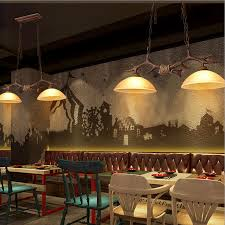 details about american style resin deer horn antler chandelier retro glass shade pendant lamp
