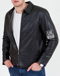 men s black leather jacket harrington semi fitted