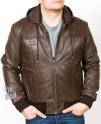 men s brown hooded leather er jacket troy main with hood