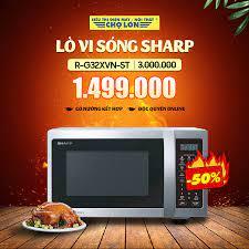 Siêu Thị Điện Máy - Nội Thất Chợ Lớn - ▪️ Lò vi sóng #Sharp R-G32XVN-ST  giảm 50% Giá còn: 1.499.000 (̶3̶̶.̶̶0̶̶0̶̶0̶̶.̶̶0̶̶0̶̶0̶) - Có nướng kết  hợp - Chỉ bán Độc quyền