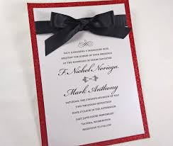 Elegant Ribbon Red Glitter Wedding Invitations