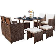 devoko 9 pieces patio dining sets outdoor e saving rattan chairs with gl table patio furniture