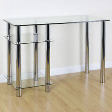 clear office. Clear Glass Top PC Computer Desk With Base Unit Shelf Home Office/study Table Office