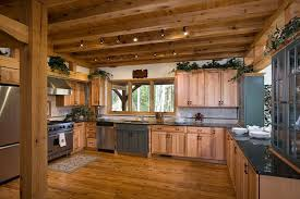 rustic modern kitchen ideas with hickory mid century cabinet using wooden beam ceiling