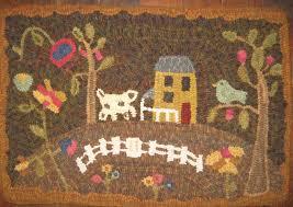 primitive bird folk art hooked rug