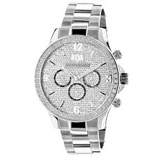 diamond watch 2ct by luxurman white gold plated mens diamond watch 2ct by luxurman white gold plated