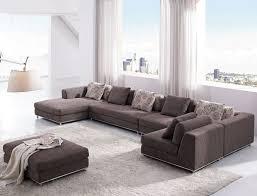 U Shaped Couch Living Room Furniture Outstanding L Shaped Grey Velvet Microfiber Modern Sleeper Sofa