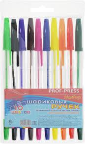 prof press набор ручек шариковых 22 10 цветов