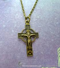 crucifix necklace orthodox cross pendant gold bronze double sided p