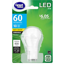60 Watt Light Bulb Walmart Great Value Led Light Bulb 10w 60w Equivalent A19 Lamp Gu24 Base Dimmable Soft White 1 Pack Walmart Com