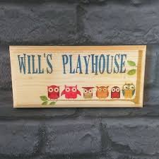 personalised playhouse sign blue owls treehouse childrens kids garden shed room