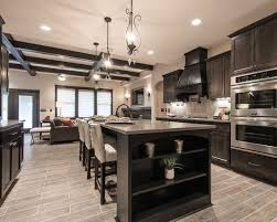 Living Room Kitchen Open Concept With Light Wood Floor Dark Cabinetry -  Google Search Pinterest